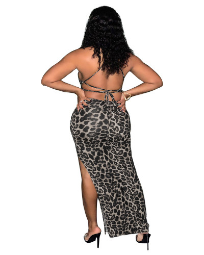 Gray Leopard print tie wrap breasted open back gown