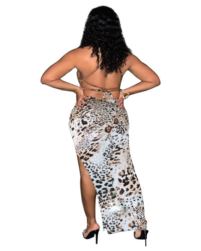 White Leopard print tie wrap breasted open back gown