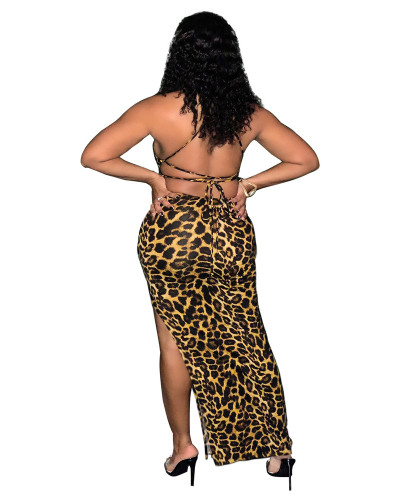 Yellow Leopard print tie wrap breasted open back gown