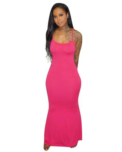 Rose red Sling short sleeve solid color long skirt home dress