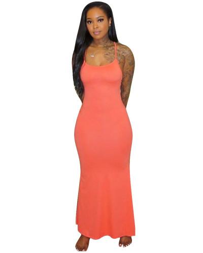 Orange Sling short sleeve solid color long skirt home dress