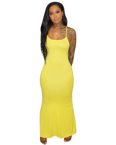 Yellow Sling short sleeve solid color long skirt home dress