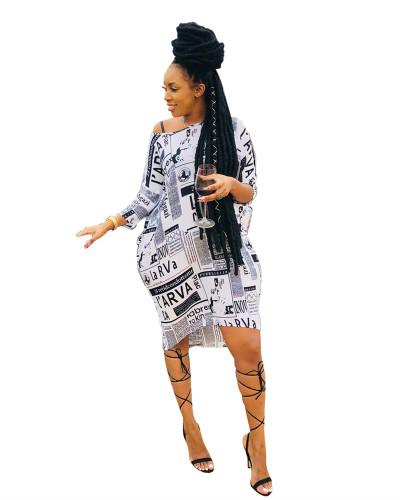 White Casual slanted shoulder loose letter print dress