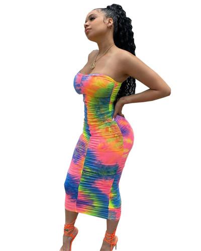 Tie-dye wrap breast pleated dress