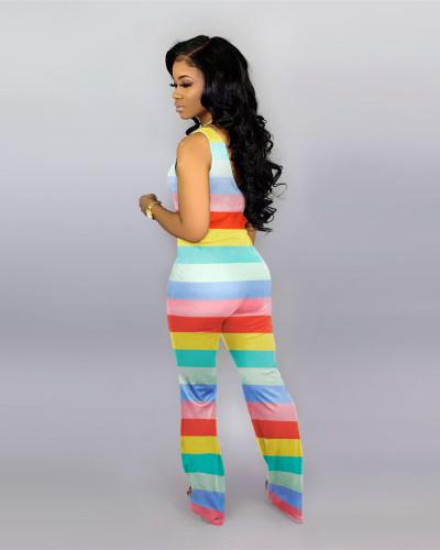Fashion women's color striped jumpsuit