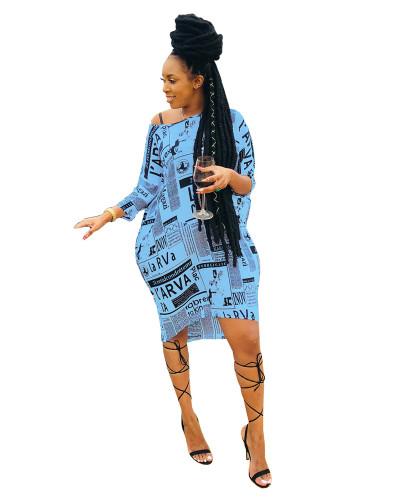 Blue Casual slanted shoulder loose letter print dress