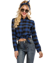 Blue Casual yarn-dyed plaid long-sleeved shirt