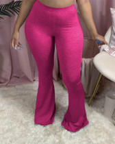 Rose red Solid color casual flared pants
