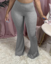 Light gray Solid color casual flared pants