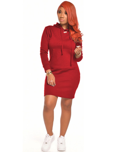 Red Casual sexy solid color dress
