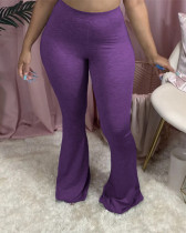 Violet Solid color casual flared pants