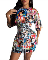 Printed machine eye waist T-shirt skirt