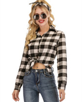 White Casual yarn-dyed plaid long-sleeved shirt