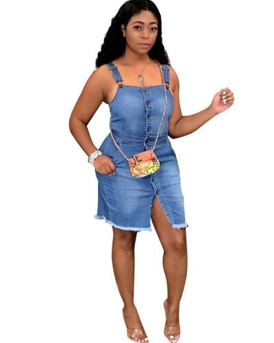 Button Slim Denim Dress