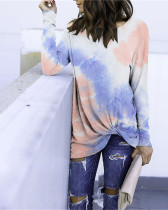Pink bule Long Sleeve Round Neck Tie-Dye T-Shirt