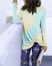 Yellow bule Long Sleeve Round Neck Tie-Dye T-Shirt