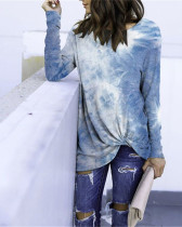 Dark bule Long Sleeve Round Neck Tie-Dye T-Shirt