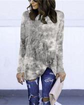 Gray Long Sleeve Round Neck Tie-Dye T-Shirt