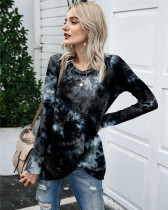 Black Long Sleeve Round Neck Tie-Dye T-Shirt