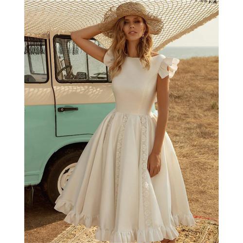 Short-sleeved waist dress with puff skirt