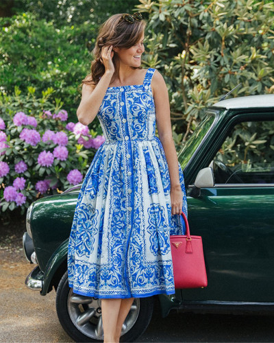 Button waist dress printed midi skirt