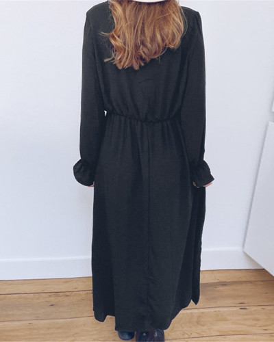 V-neck long sleeve dress loose long skirt