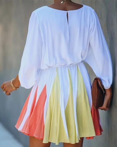 Round neck long sleeve stitching dress