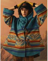 Long-sleeved hooded coat printed woolen coat