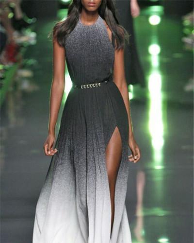 Sexy waist halter dress