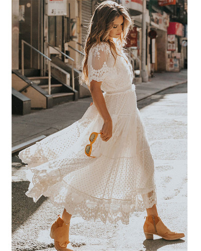 V-neck short sleeve lace dress