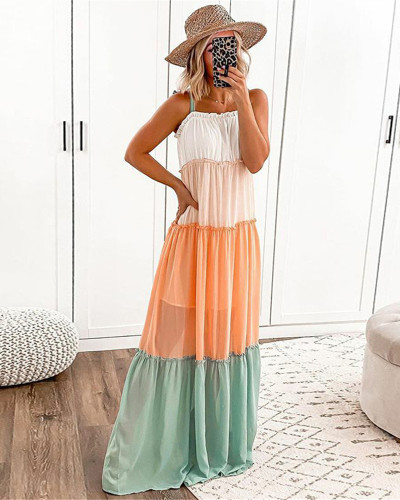 Sleeveless suspender stitching color dress