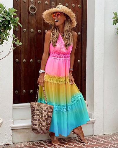 Sexy V-neck sleeveless gradient dress loose long skirt