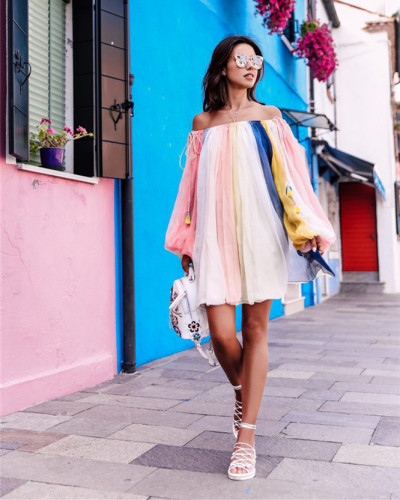 Long sleeve dress short skirt