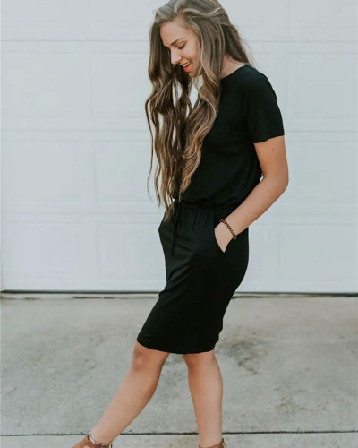 Black Slip pocket drawstring waist dress