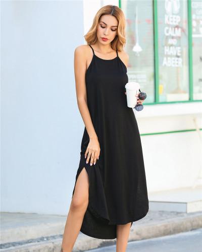 Black Solid color sling short front and back long slit dress loose long skirt