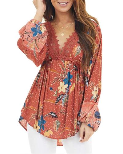 V-neck long sleeve printed dress