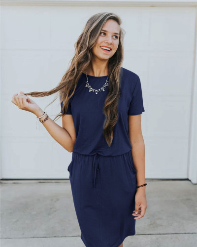 Dark bule Slip pocket drawstring waist dress