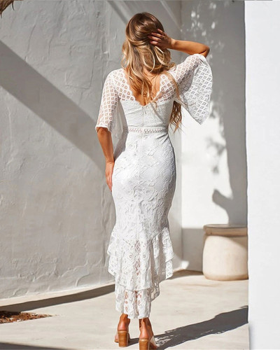 White Lace slim mermaid dress