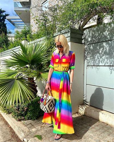 Rainbow color dress casual long skirt