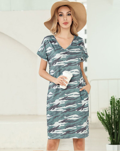 Camouflage Short sleeve printed v-neck pocket T-shirt dress Amazon hot leopard print skirt