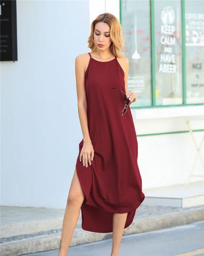 Claret Solid color sling short front and back long slit dress loose long skirt