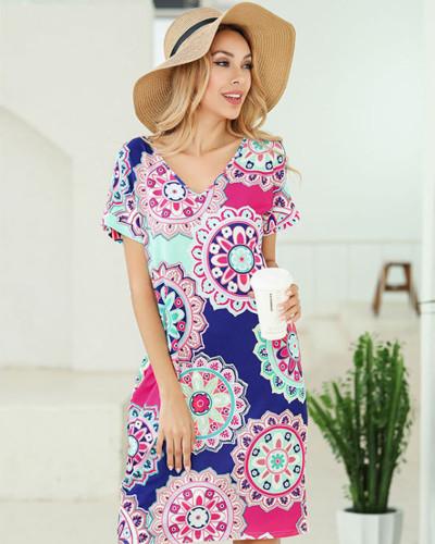 Sun flower Short sleeve printed v-neck pocket T-shirt dress Amazon hot leopard print skirt