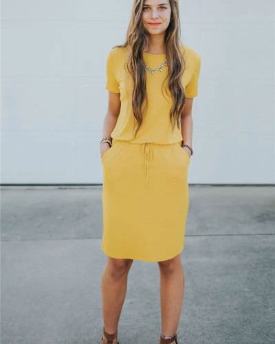 Yellow Slip pocket drawstring waist dress