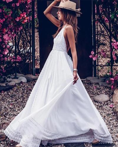 Sexy suspender backless dress long dress