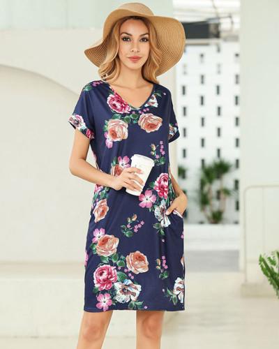 Dark bule Short sleeve printed v-neck pocket T-shirt dress Amazon hot leopard print skirt