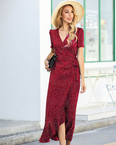 Red V-neck polka dot irregular ruffled dress mermaid floral dress
