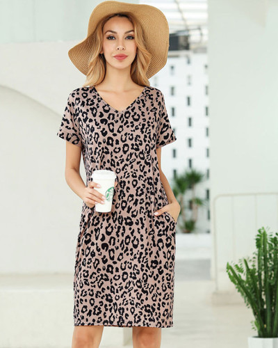 Leopard Short sleeve printed v-neck pocket T-shirt dress Amazon hot leopard print skirt