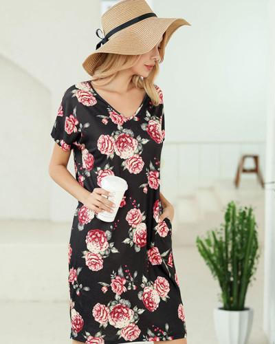 Black Short sleeve printed v-neck pocket T-shirt dress Amazon hot leopard print skirt