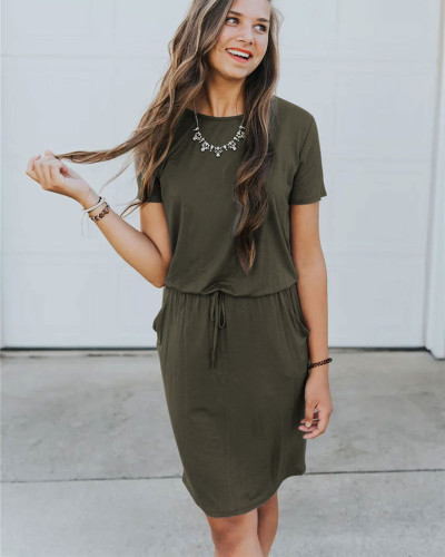 Army green Slip pocket drawstring waist dress