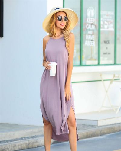 Violet Solid color sling short front and back long slit dress loose long skirt